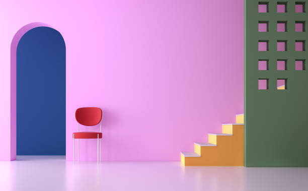 colorful empty room 3d render - multi colored stock pictures, royalty-free photos & images