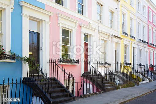 Colorful English houses facades in blue, pink, yellow and white, pastel colors in London