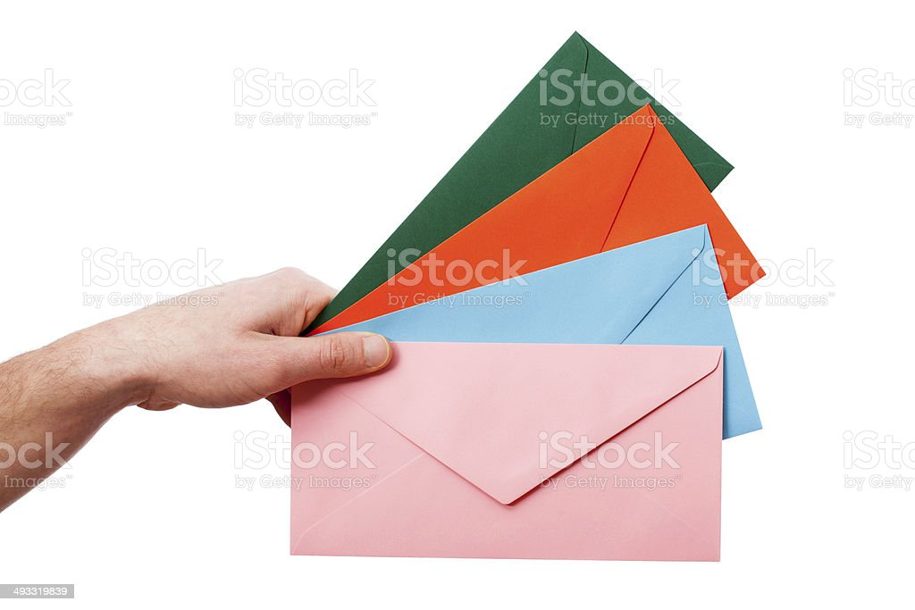 Colorful envelopes on white background royalty-free stock photo