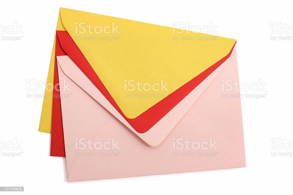Colorful Envelopes on white stock photo