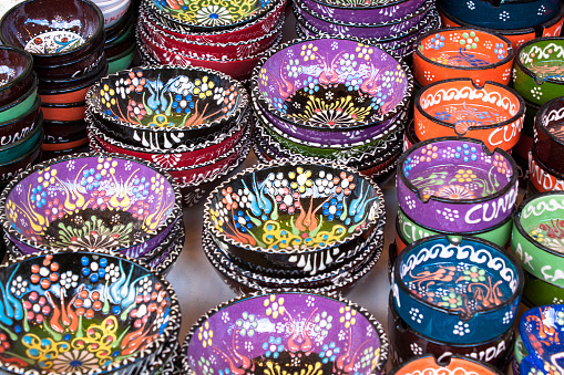 colorful ethnic hand painted Turkish ceramic plates souvenirs traditional