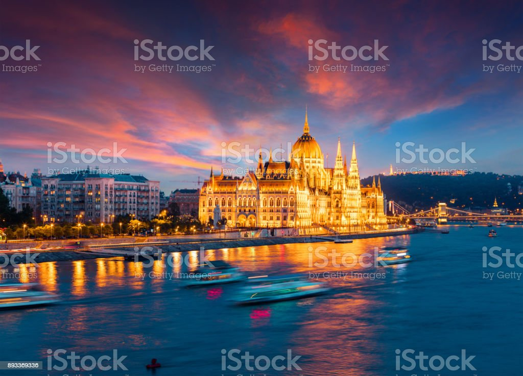 Colorful evening view of Parliament and Chain Bridge stock photo
