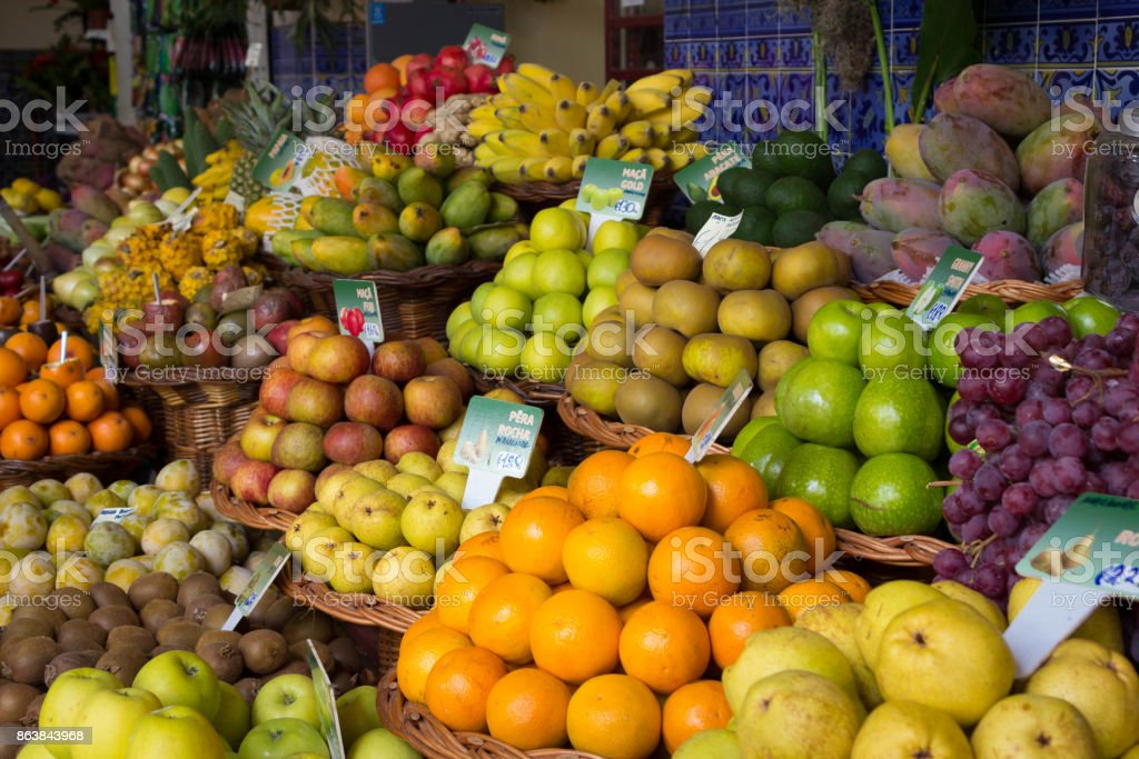 Colorful exotic fruit market stall stock photo