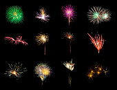 Variety of colorful twelve fireworks isolated on black background