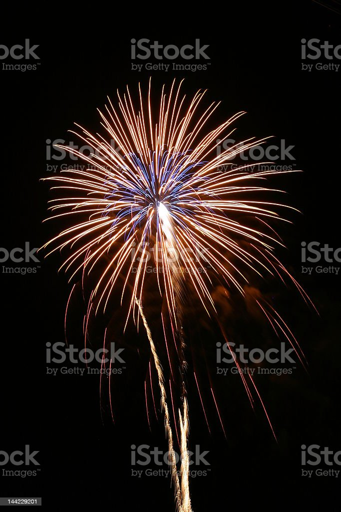 Colorful exploding fireworks display stock photo