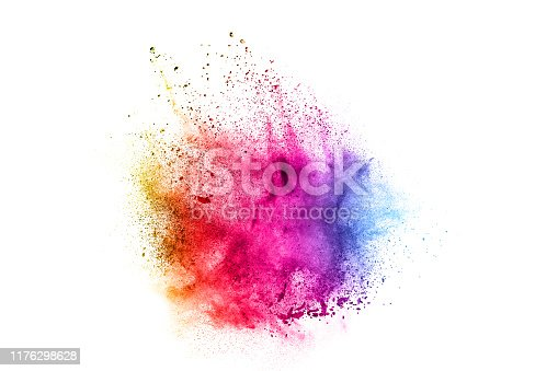 1131535585 istock photo Colorful explosion for Happy Holi powder.Abstract background of color particles burst or splashing. 1176298628