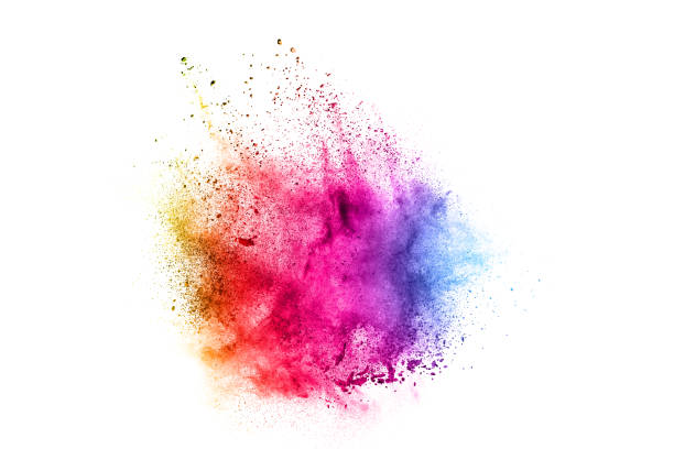 Colorful explosion for Happy Holi powder.Abstract background of color particles burst or splashing. Colorful explosion for Happy Holi powder.Abstract background of color particles burst or splashing. colored powder stock pictures, royalty-free photos & images