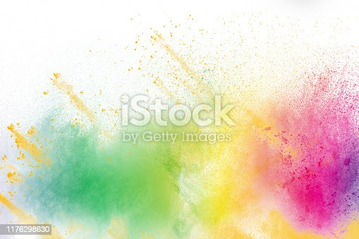 1131535585 istock photo Colorful explosion for Happy Holi powder.Abstract background of color particles burst or splashing. 1176298630