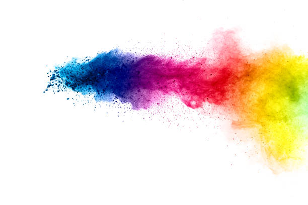 colorful explosion for happy holi powder.abstract background of color particles burst or splashing. - cores imagens e fotografias de stock