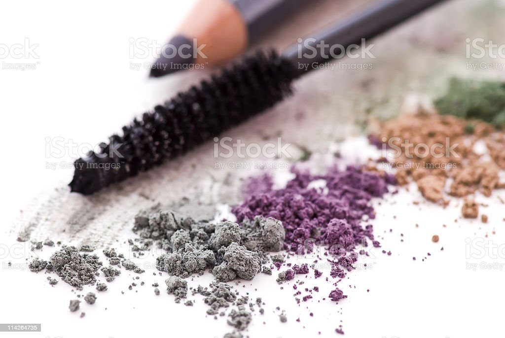 Colorful eye makeup on white background stock photo