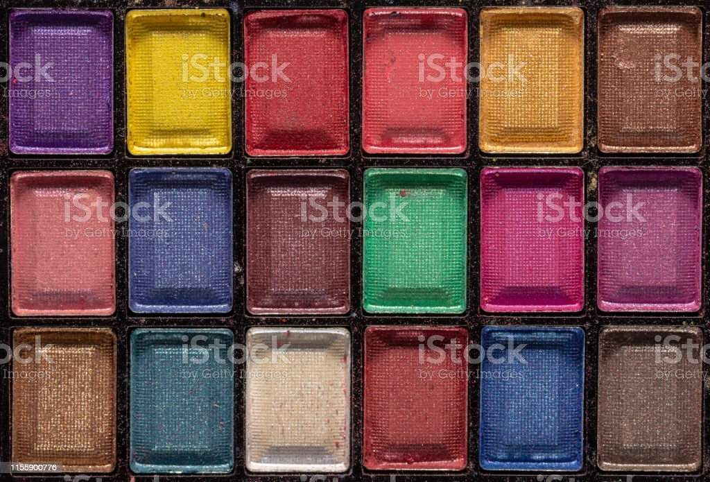 Colorful eye shadows palette. Makeup background. Colorful make-up...