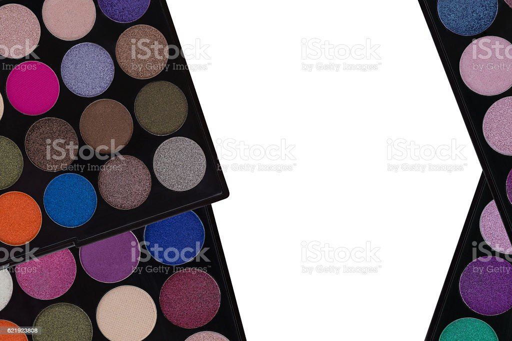 Colorful Eyeshadow.  Top view of makeup cosmetic palette on white stock photo