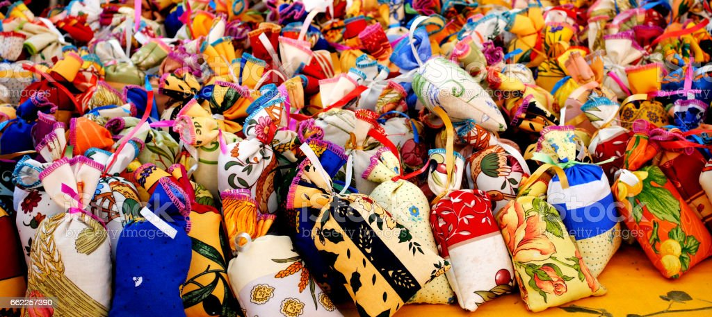 Colorful fabric sachets for sale royalty-free stock photo