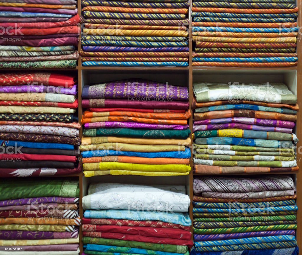 Colorful fabrics in Textile store, India royalty-free stock photo
