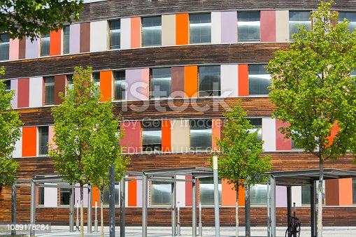 DESSAU - AUGUST 05, 2018:Environment and colorful facade of the Federal Environment Agency in Dessau