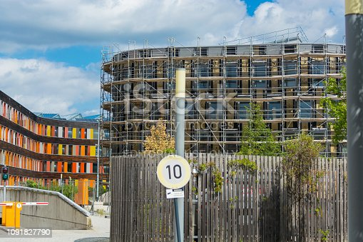 Dessau - August 05, 2018:  Environment, glass facade and entrance area of the Federal Environmental Agency in Dessau