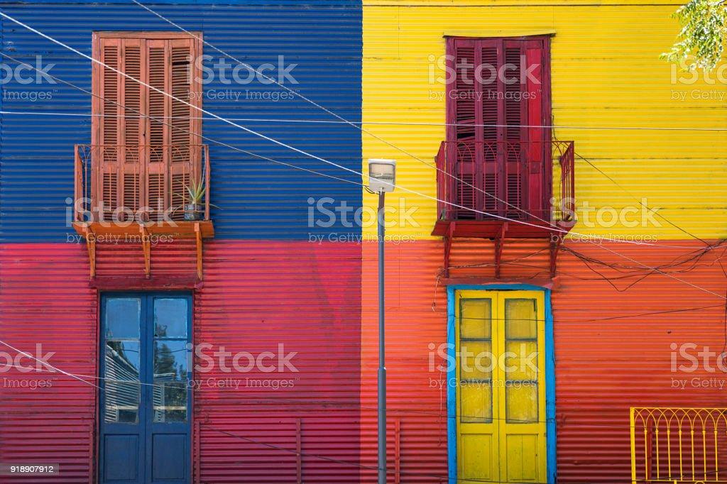Colorful facade from Caminito in La Boca, Buenos Aires, Argentina stock photo