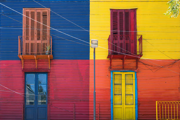 Colorful facade from Caminito in La Boca, Buenos Aires, Argentina stock photo