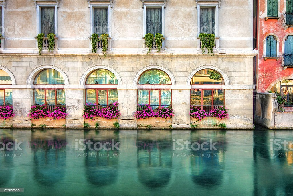 Colorful facade of a building Treviso, Italy. stock photo