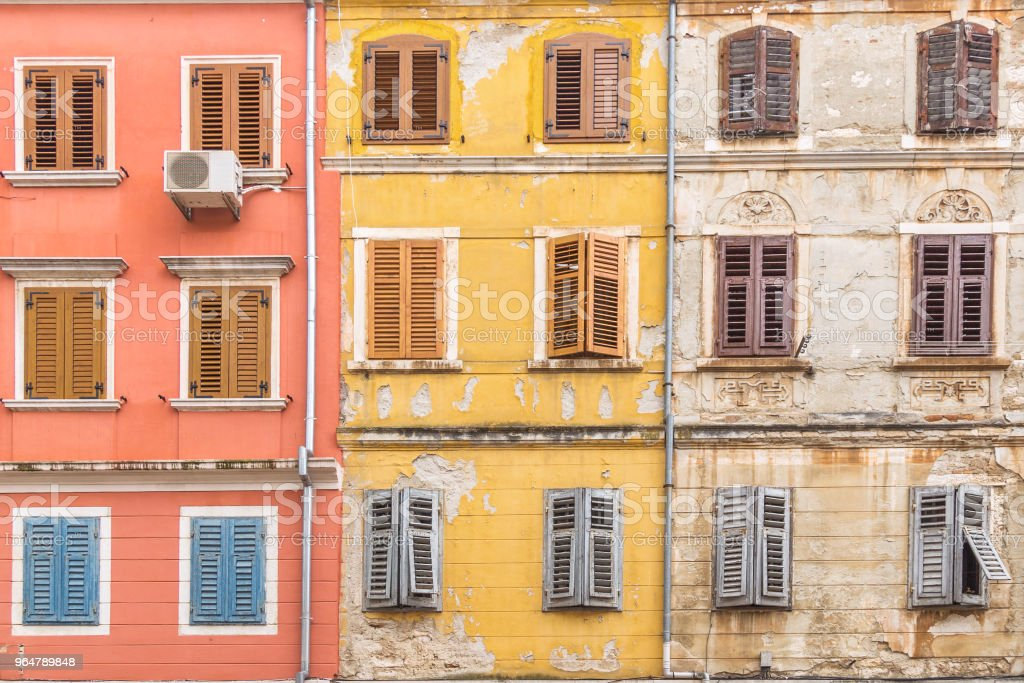 Colorful facade of an old house in Rovinj, Croatia. royalty-free stock photo