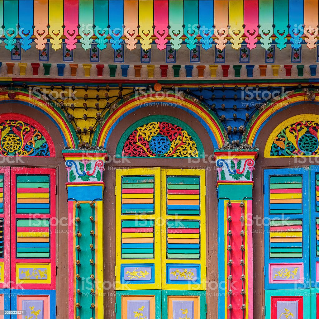 Colorful facade of building in Singapore stock photo