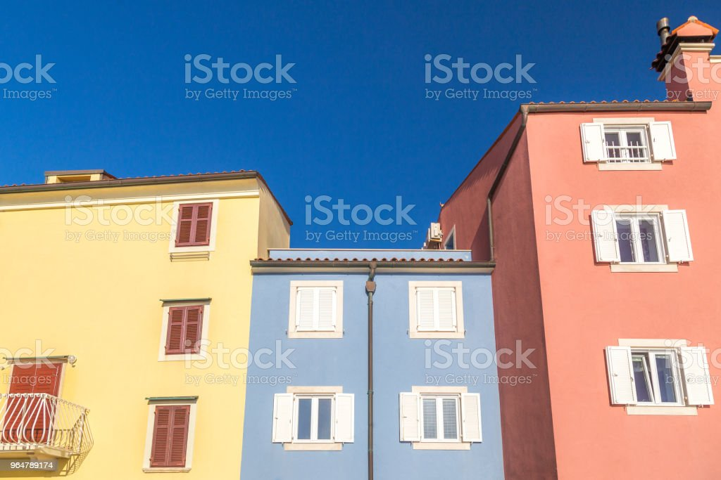Colorful facade of buildings in Piran town on Adriatic sea. royalty-free stock photo