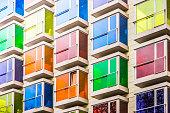 A colorful facade of a modern building
