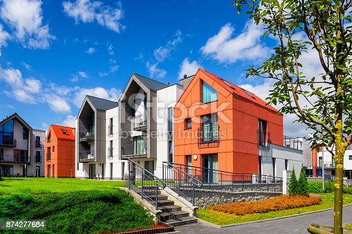 889473004 istock photo Colorful facades of apartment buildings in modern housing estate 874277684