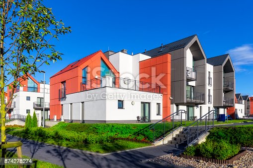 889473004 istock photo Colorful facades of apartment buildings in modern housing estate 874278274