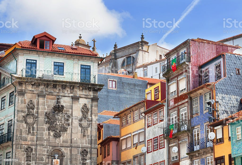 Colorful facades of old portuges houses in Porto royalty-free stock photo