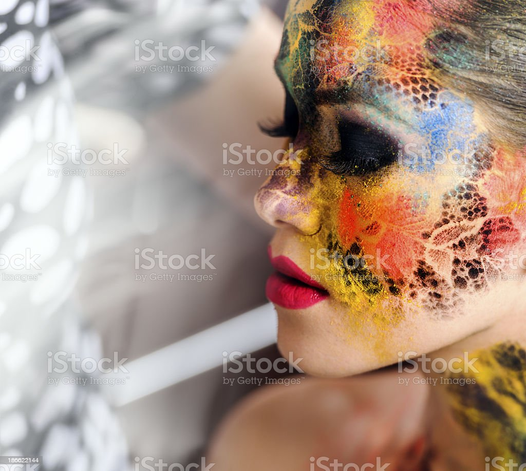 colorful face paint stock photo