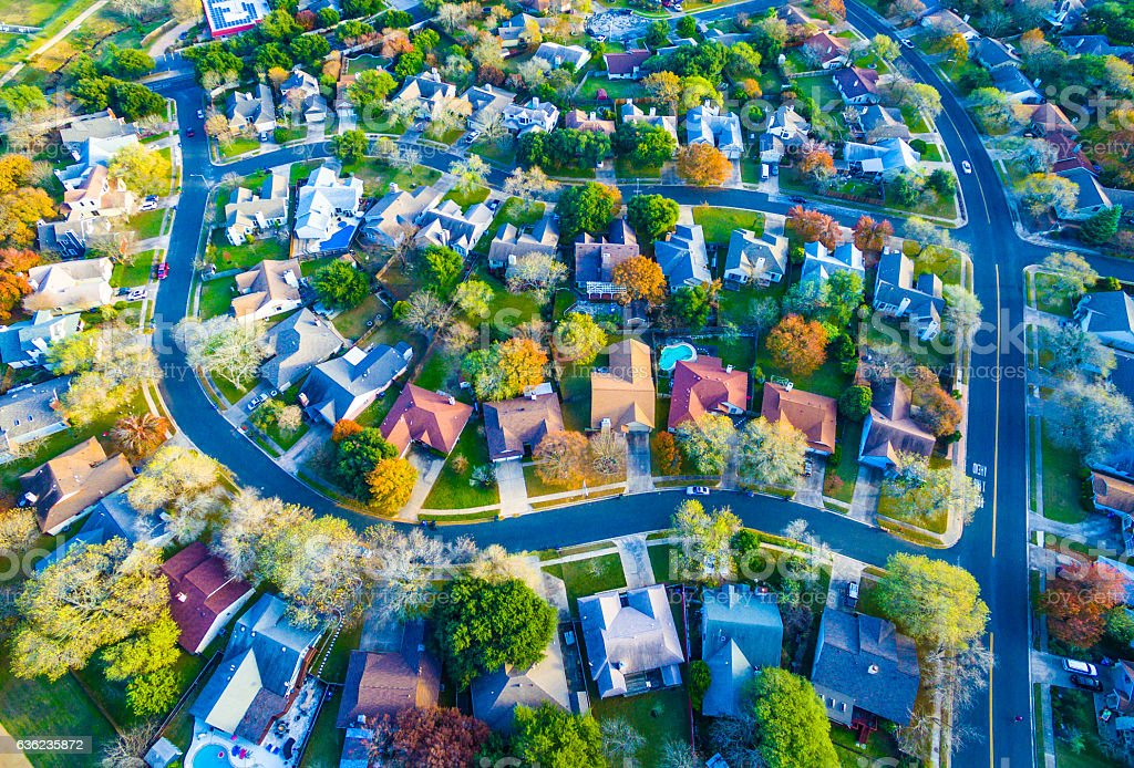Colorful Fall Aerial Homes in Modern Suburb - Photo