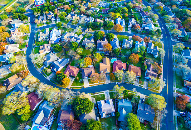 Colorful Fall Aerial Homes in Modern Suburb stock photo