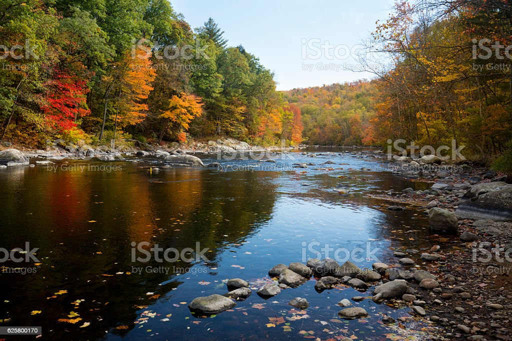 Colorful fall foliage along the Farmington River in Canton, Conn stock photo