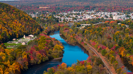 The aerial view of the small town Parriville nearby Lehigh River, Pennsylvania, in fall.