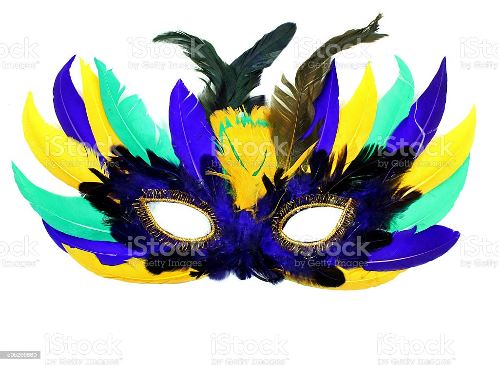 Colorful Feather Mask Worn At Mardi Gras stock photo