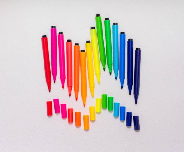 Colorful felt tip pens make a rainbow color