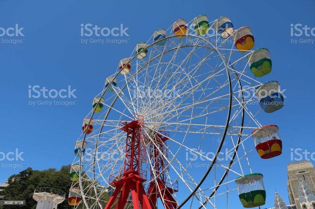 Colorful ferris wheel in the amusement park in Sydney, Australia stock photo