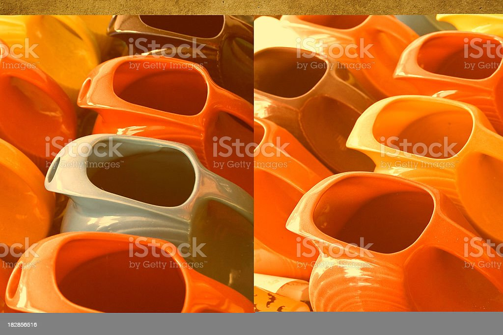Colorful Fiestaware Pitchers royalty-free stock photo