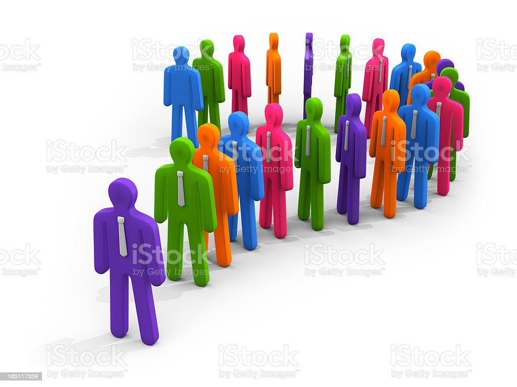 Colorful figures in queue forming question mark symbol stock photo
