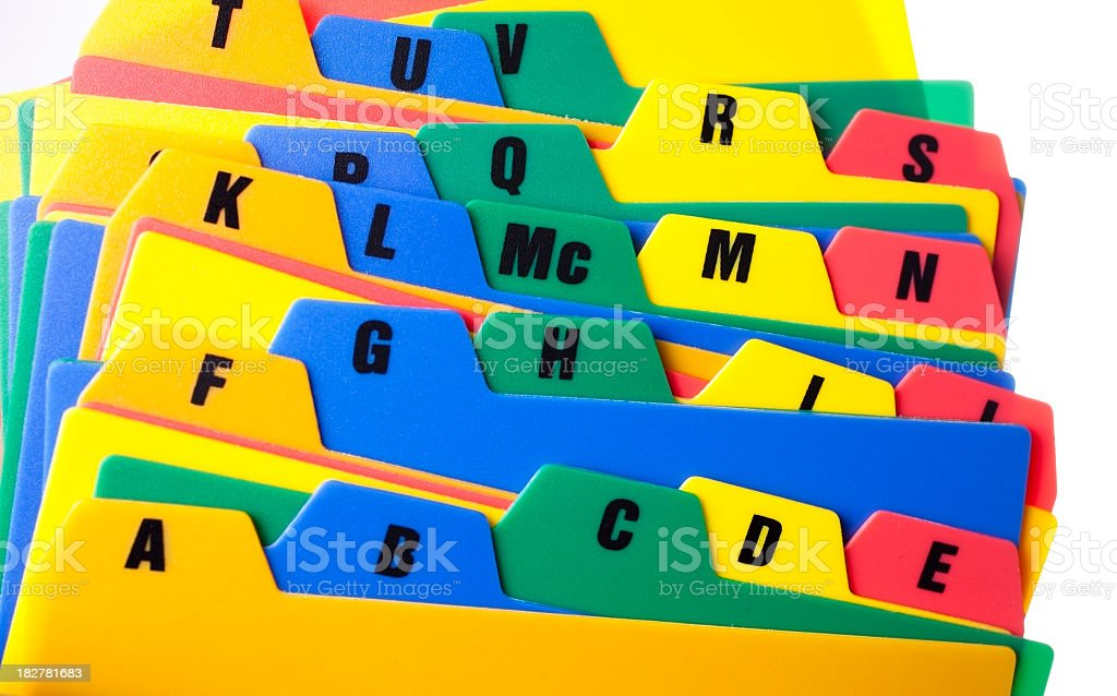 Colorful file dividers with alphabet on tabs royalty-free stock photo