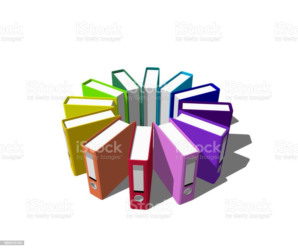 Colorful file folders.Isolated on white background. 3D rendering illustration. royalty-free stock photo