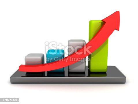 831745600istockphoto colorful financial business bar chart with growing arrow 178756686