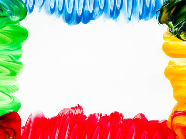 bunte finger farbe grenze - fingerfarben stock-fotos und bilder