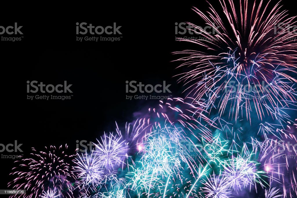 colorful firework display for festival, event, party, new year...