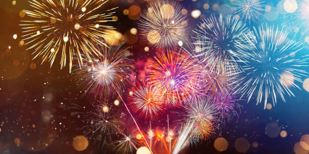 Colorful firework with bokeh background. New Year celebration. Colorful firework with bokeh background. New Year celebration, Abstract holiday background firework display stock pictures, royalty-free photos & images