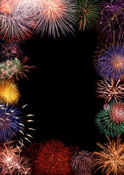 Colorful fireworks as a picture border A graphic image that shows a black background that is bordered with a variety of colorful fireworks display.  There is a blank space in the middle of the image. 2013 stock pictures, royalty-free photos & images