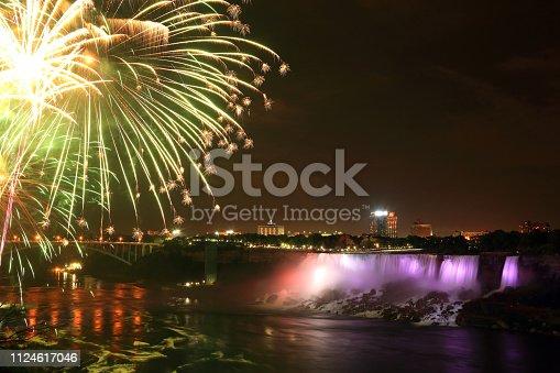 Colorful Fireworks at Niagara Falls