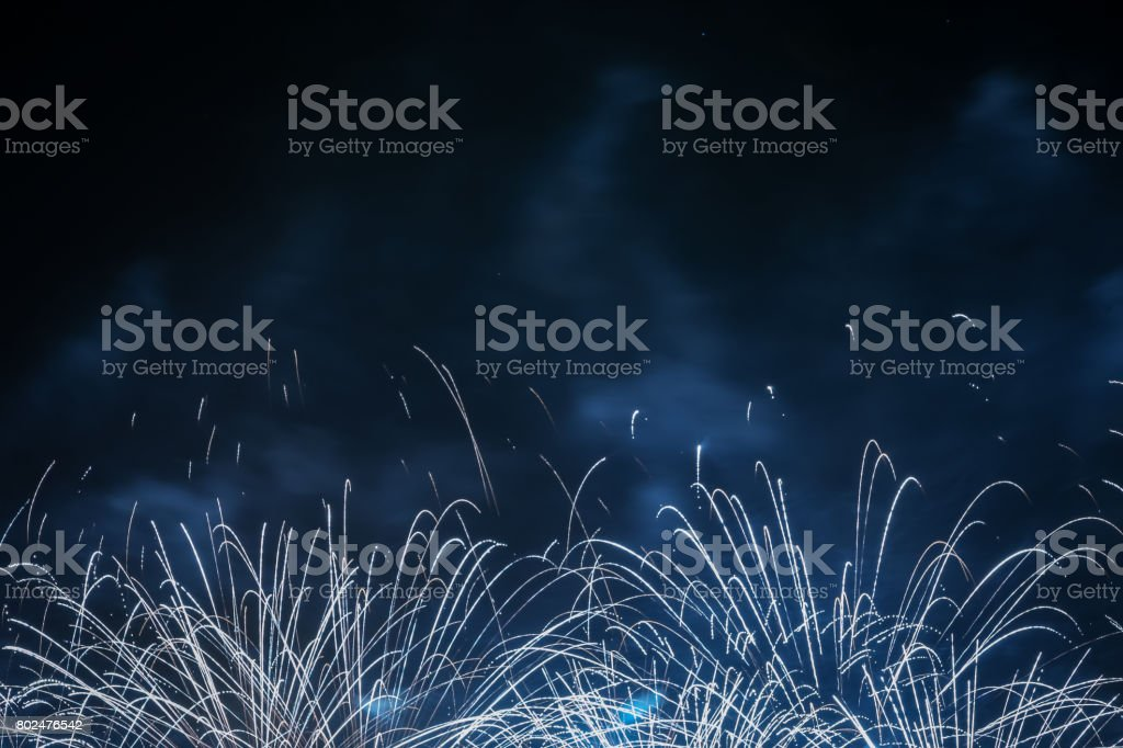 Colorful fireworks at night stock photo