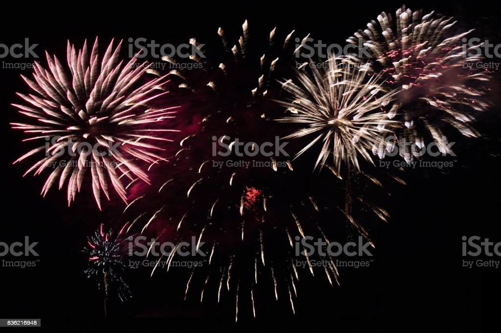 colorful fireworks at night sky - party celebration concept - fireworks  on black background stock photo